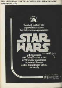 "1977 Twentieth Century Fox exhibitors' ad for the release of ""Star Wars"" in Dolby Stereo (from BoxOffice Magazine)."