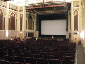 Interior of the Weinberg Center (former Tivoli) stage with movie screen. Photo: Chris Hamby.
